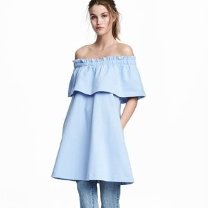 H&M Dresses - H&M Blue Ruffled off shoulder Dress